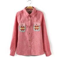 Western Wind Maoni Multicolor Geometric Pattern Double Pocket Knit Shirts Blouses [72]