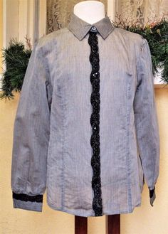 Chicos Sz 2 Button Front Blouse Gray Black Pinstripe Lace Long Sleeve Semi Sheer #Chicos #Blouse #CareerDressycasual