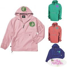 Our lightweight unlined monogrammed pullover rain jacket is a best seller and looks great with this 3 inch monogram on the left chest area Jacket convenie