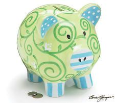 Green and Blue With Stripes and Swirls Ceramic Piggy Bank - Money Savings Coin