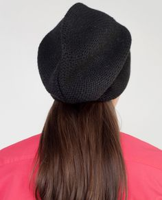 ELIZA Slouchy Mohair Beanie Hat In Black f6e3f1350e7