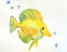 Yellow Tang fish  6x8 Original watercolor by FernOriginalArt
