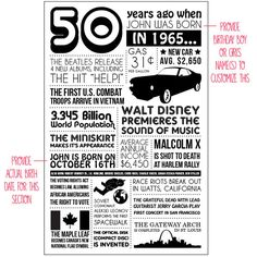 Personalized 50th Birthday Poster 1965 by laurelcovecreative