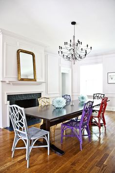 #mantel, #dining-room, #dining-chair, #chandelier, #dining-table, #mirror  Photography: Robbie Caponetto  Read More: http://www.stylemepretty.com/living/2013/10/22/5-tips-to-starting-your-own-business-with-society-social/