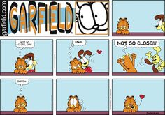 """Created by Jim Davis, Garfield is about the famous fat cat and his hilarious daily adventures with his """"pal"""" Odie and others. Garfield And Odie, Garfield Comics, Garfield Quotes, Hagar The Horrible, Jim Davis, Funny Comic Strips, Lazy Cat, Fat Cats, Calvin And Hobbes"""