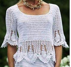 Tina's handicraft : long-sleeve crochet blouse with wavy finish