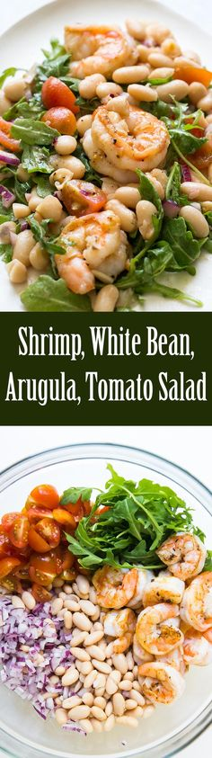 Shrimp Arugula White Bean Cherry Tomato Salad Quick and easy shrimp arugula salad with white beans and cherry tomatoes Takes 20 min to make Mediterranean diet friendly too Healthy quickandeasy italian gluten-free shrimp Cherry Tomato Salad, Tomato Salad Recipes, Fish Recipes, Seafood Recipes, Cherry Tomatoes, Cooking Recipes, Seafood Menu, Recipies, Healthy Salads