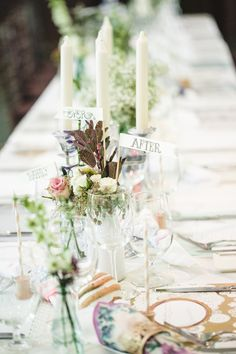 handcrafted reception table ideas, photo by Anita Martin Photography http://ruffledblog.com/emerald-olympic-valley-wedding #centerpieces #receptions #tablescapes