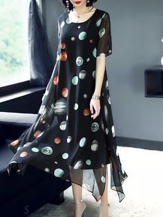 Buy Elegant O-Neck Floral Print Silk Maxi Dress with High Quality and Lovely Service at DressSure.com