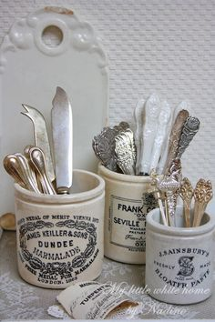 "vintage labeled jars... ""My little white home"" by Nadine."