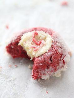 Red Velvet Cream Cheese Thumbprint Cookies foodiecrush.com
