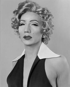 """""""Self-Portrait - After Marilyn Monroe"""" by Yasumasa Morimura. Morimura, a Japanese man, inserts portraits of himself into iconic pieces of Western art to challenge meanings of identity (race, gender, etc.)."""