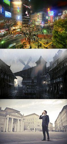 The elder scrolls v, skyrim, concept atr, rain, city, well, paving, mill, people, lights