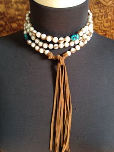 Perfect lariat combo of pearls sueded by JulieMoloneyDesigns