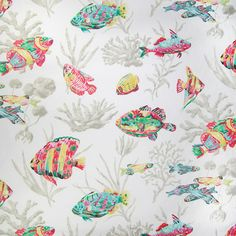 Super Cute Fish Fabric! Love these Colors for Summer!  Breezy Poolside Decorator Fabric - Contemporary - Upholstery Fabric #Rainbow #Colors #Decorator_Fabric #Fish #Coral #Fabric #NewFabric #Home_Decor #Interior_Design