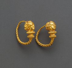 Hoop Earrings with Maenads, Greek, Eastern Mediterranean, 100 - 1 B.C.