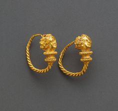 Hoop Earrings with Maenads, Greek, Eastern Mediterranean, 100 - 1 B.C.