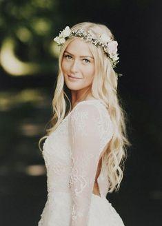 Boho chic long-sleeve white wedding dress; Featured Photographer: Logan Cole Photography