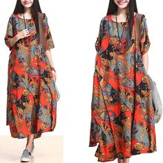 Red Spring Flower Casual Clothes Cotton Dress by AlisaClothing, $69.00