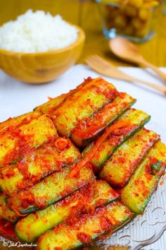 My Cucumber Kimchi recipe is cool, crunchy, spicy and refreshing. The perfect Korean side dish. Korean Side Dishes, Veggie Side Dishes, Korean Cucumber Salad, Cucumber Kimchi, Korean Cucumber Side Dish, Asian Recipes, New Recipes, Cooking Recipes, Healthy Recipes