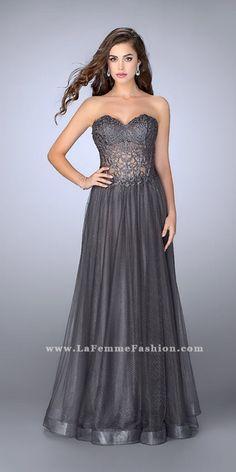 La Femme Corset Style Ball Gown . Colors: Gunmetal, Navy. Size: 00-12