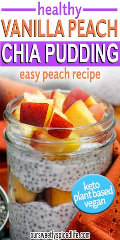 Make this Peaches and Cream Vegan Chia Pudding with Coconut Milk today!. This simple fresh peaches and cream recipe creates a healthy but dessert-worthy breakfast recipe. With easy overnight prep and only 5 ingredients, this healthy peach recipe comes together quick & keeps you full with nutrient packed chia seeds, ripe peaches, and creamy coconut milk. Perfect for healthy diets of all kinds, this chia pudding breakfast is vegan, vegetarian, paleo, keto, and dairy free. #keto #chia #peach…