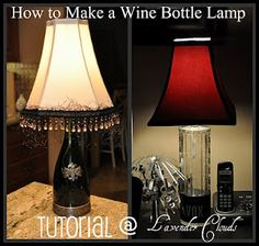 A wine bottle lamp.  Something I would never have thought of.