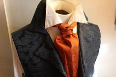 FORMAL Victorian Ascot Tie Cravat - PUmpkin Spice Orange Dupioni SILK