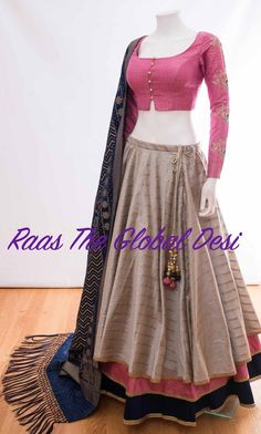 Chaniya choli 2018 Buy online beautiful designer collection -ghaghra choli navratri collection at best prices at RAAS THE GLOBAL DESI . Indian Fashion Dresses, Indian Designer Outfits, Indian Outfits, Indian Clothes, Designer Dresses, Choli Designs, Saree Blouse Designs, Lehenga Designs Simple, Choli Blouse Design