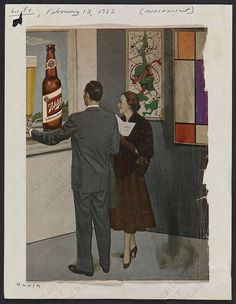 Found this in the Smithsonian archives; http://www.aaa.si.edu/collections/images/detail/advertisement-schlitz-beer-life-magazine-13813  Isn't it great? 1952. Pollock and Mondriaan outbeated by a beer brand? Probably still happens 60 years later.