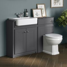 Bathroom Sink Units Cambridge Midnight Grey Combined Vanity Unit - Back to Wall Pan Toilet And Sink Set, Toilet Vanity Unit, Grey Vanity Unit, Bathroom Sink Units, Sink Vanity Unit, Toilet Sink, Small Toilet, New Toilet, Bathroom Ideas