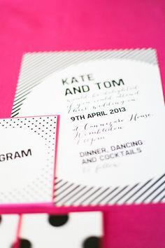 black hot pink invitations