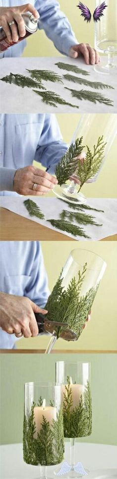 This DIY Evergreen Candle Will Make Your Holidays Even Brighter Beautiful! Great DIY craft for the holidays. Use nature products to decorate household items.<br> Take a pretty glass container, glue bits of greenery around it, and set candles inside to combine the freshness of greenery with the welcoming warmth of candlelight. Glass Containers, Household Items, Evergreen, Greenery, Diy Crafts, Candles, Make It Yourself, Holiday, How To Make