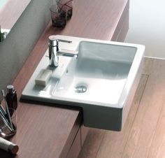 Image Result For Duravit Overhang Sink With Images Semi Recessed Basin Bathroom Shower Accessories Duravit