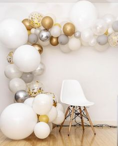 White Gold And Silver Party Decor Wedding Balloons Balloon Garland Balloons