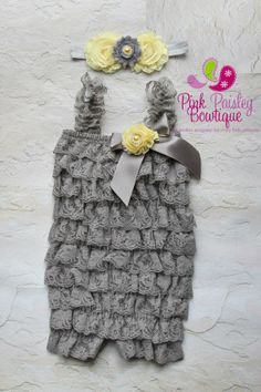 Petti Romper  3 pc SET Grey & Yellow Petti by Pinkpaisleybowtique, $34.99