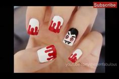 Bloody vampire halloween nails