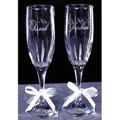 If you have a special wedding couple in mind, the best and most memorable gift you can give is a set of engraved wine glasses. You can etch or engrave the wine glasses with their monogram, initials or their special wedding date.