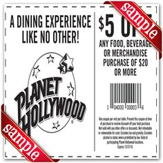 Printable planet hollywood Coupon June 2015