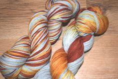 Hand dyed yarn, Grey yarn, metalic yarn, copper yarn,  DK yarn, Mining for Iron Ore Colourway, Yorkshire Dale Yarn, UK indie dyer, merino. by Homespunwonders on Etsy