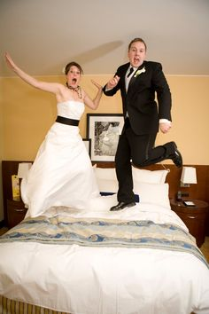 Totally stealing this photo idea! Couple jumping on the bed at the JW Marriott Grand Rapids.