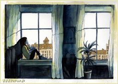 Sketching at the windows by *Iraville on deviantART.