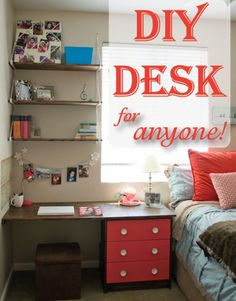 Using a nightstand to make a built-in desk makes me reconsider giving up the idea of having a built-in desk in my living room. - Home Decor Diy Cheap Desk Organization Diy, Diy Desk, My New Room, My Room, Home Office, Diy Home Decor, Room Decor, Built In Desk, Desk With Drawers