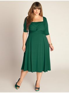 """IGIGI Plus Size Clothing by Yuliya Raquel """"Tiffany"""" Dress in Hunter Green, $118 via IGIGI.Com --- You'll want to put this dress in heavy rotation this season; clean lines that shape an on-trend A-line silhouette & a dazzling green hue. Pair this beauty with silver or black pumps or strappy flats & a colorful tote. Also available in Fuchsia Pink. (I love seeing a solid plain work dress that has such intricate detail in its construction!)"""