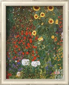 Farm Garden with Sunflowers, c.1912 Framed Textured Art by Gustav Klimt at Art.com