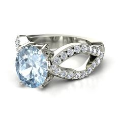 Oval Aquamarine Palladium Ring with Diamond | Counterpoint Ring | Gemvara
