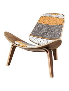 Retro Promenade Shell Accent Chair by NyeKoncept | orange/brown/multi/white/yellow | Gilt