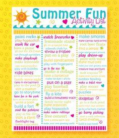 Summer Activity List