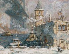 Laurence A. Campbell (1939-) ''Philadelphia Waterfront-Winter Under the Ben Franklin Bridge''