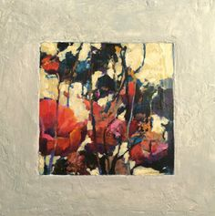 """Abstract Artists International: Contemporary Abstract Mixed Media Painting 30/30 Challenge """"Sunset Poppies"""" by Intuitive Artist Joan Fullerton"""